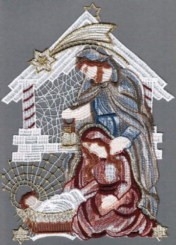 Embroidered Lace Nativity Scene Christmas Window Picture